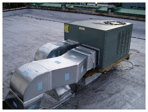 Commercial air conditioning unit installation on rooftop